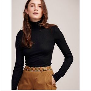 Free People Modern Fit Scalloped Turtleneck Top